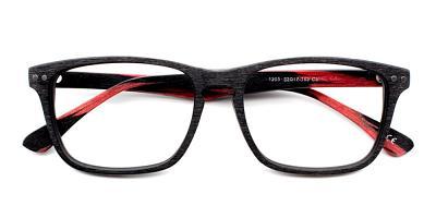 Isaac Eyeglasses Black Red